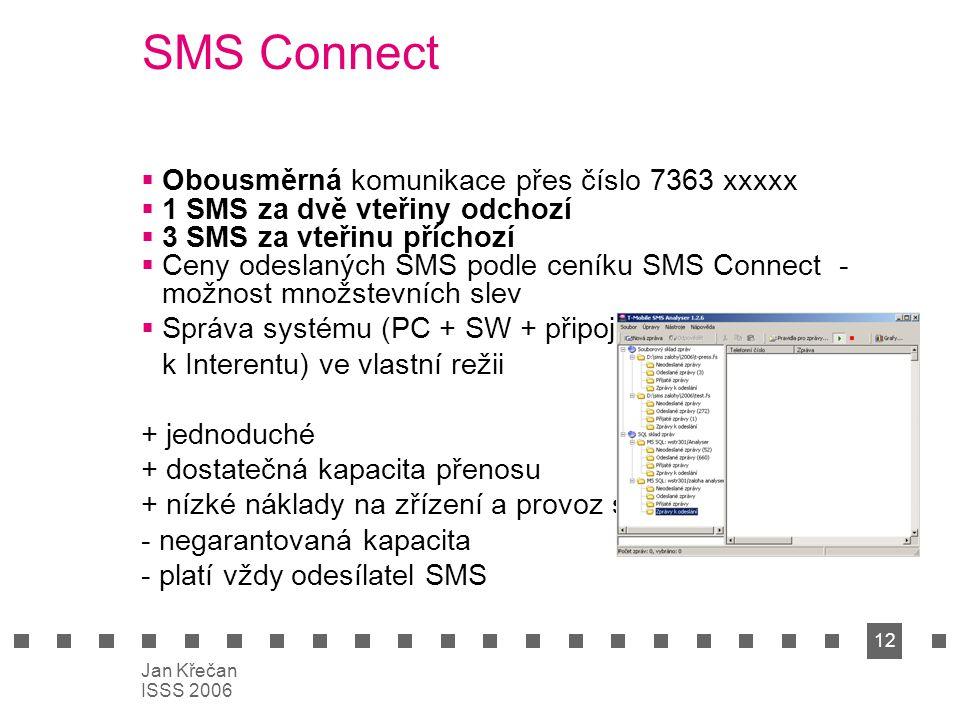 12 Jan Křečan ISSS 2006 SMS Connect  Obousměrná komunikace přes číslo 7363 xxxxx  1 SMS za dvě vteřiny odchozí  3 SMS za vteřinu příchozí  Ceny od