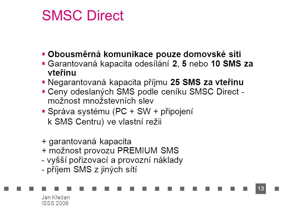 13 Jan Křečan ISSS 2006 SMSC Direct  Obousměrná komunikace pouze domovské síti  Garantovaná kapacita odesílání 2, 5 nebo 10 SMS za vteřinu  Negaran