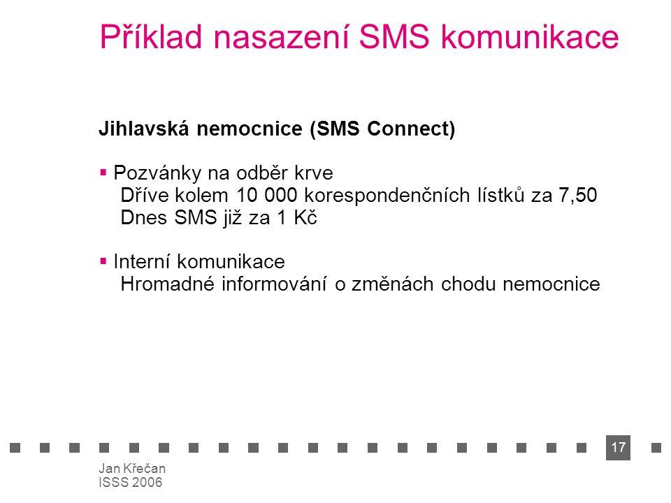 17 Jan Křečan ISSS 2006 Příklad nasazení SMS komunikace Jihlavská nemocnice (SMS Connect)  Pozvánky na odběr krve Dříve kolem 10 000 korespondenčních