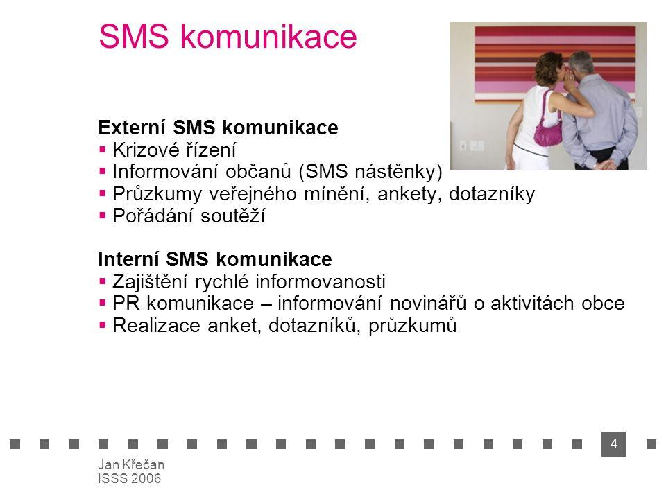 4 Jan Křečan ISSS 2006 SMS komunikace Externí SMS komunikace  Krizové řízení  Informování občanů (SMS nástěnky)  Průzkumy veřejného mínění, ankety,