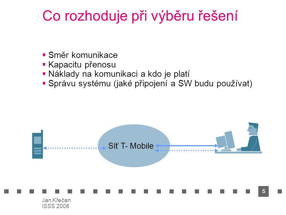 5 Jan Křečan ISSS 2006 Co rozhoduje při výběru řešení  Směr komunikace  Kapacitu přenosu  Náklady na komunikaci a kdo je platí  Správu systému (ja