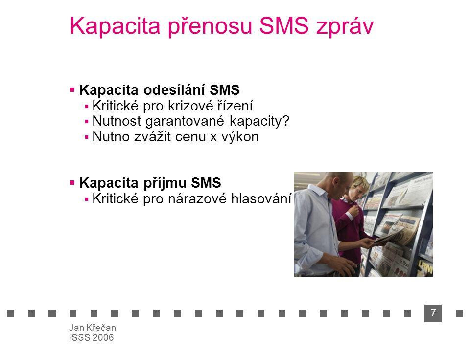 7 Jan Křečan ISSS 2006 Kapacita přenosu SMS zpráv  Kapacita odesílání SMS  Kritické pro krizové řízení  Nutnost garantované kapacity?  Nutno zváži