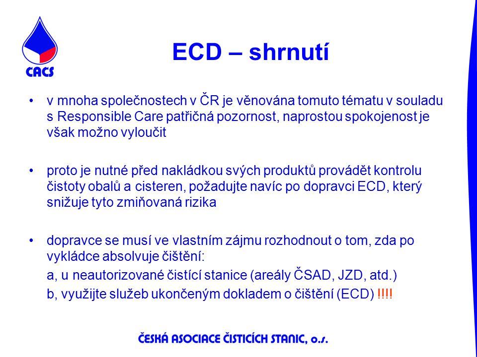 ECD – shrnutí v mnoha společnostech v ČR je věnována tomuto tématu v souladu s Responsible Care patřičná pozornost, naprostou spokojenost je však možn