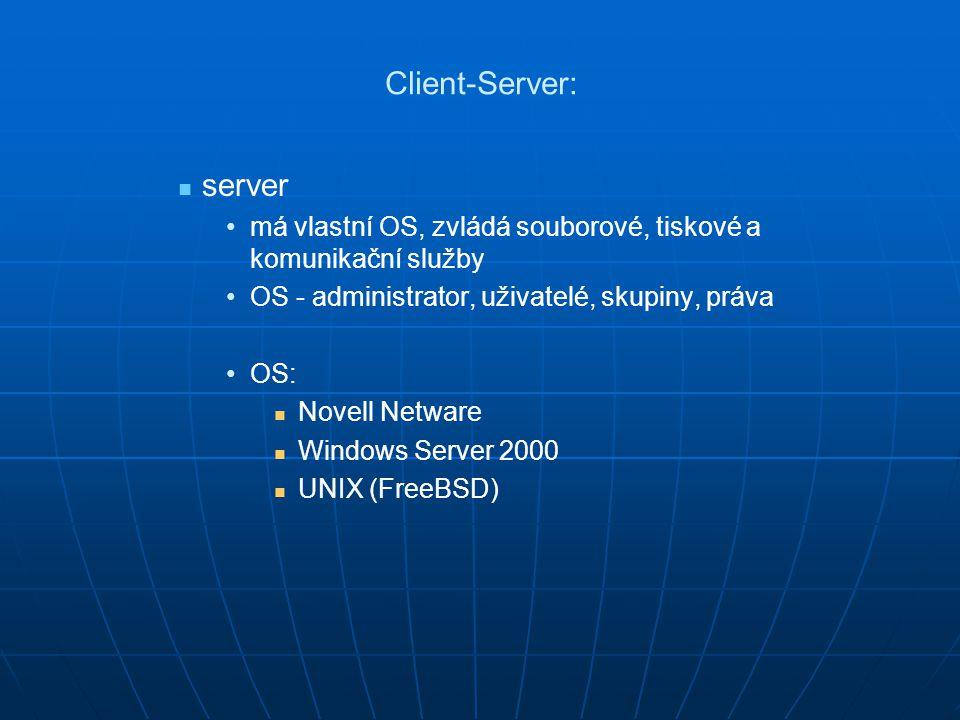 Client-Server: server má vlastní OS, zvládá souborové, tiskové a komunikační služby OS - administrator, uživatelé, skupiny, práva OS: Novell Netware W