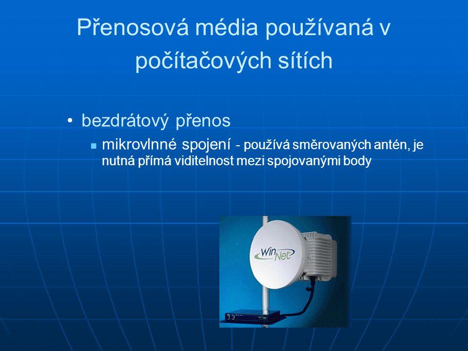 Přenosová média používaná v počítačových sítích bezdrátový přenos mikrovlnné spojení - používá směrovaných antén, je nutná přímá viditelnost mezi spoj