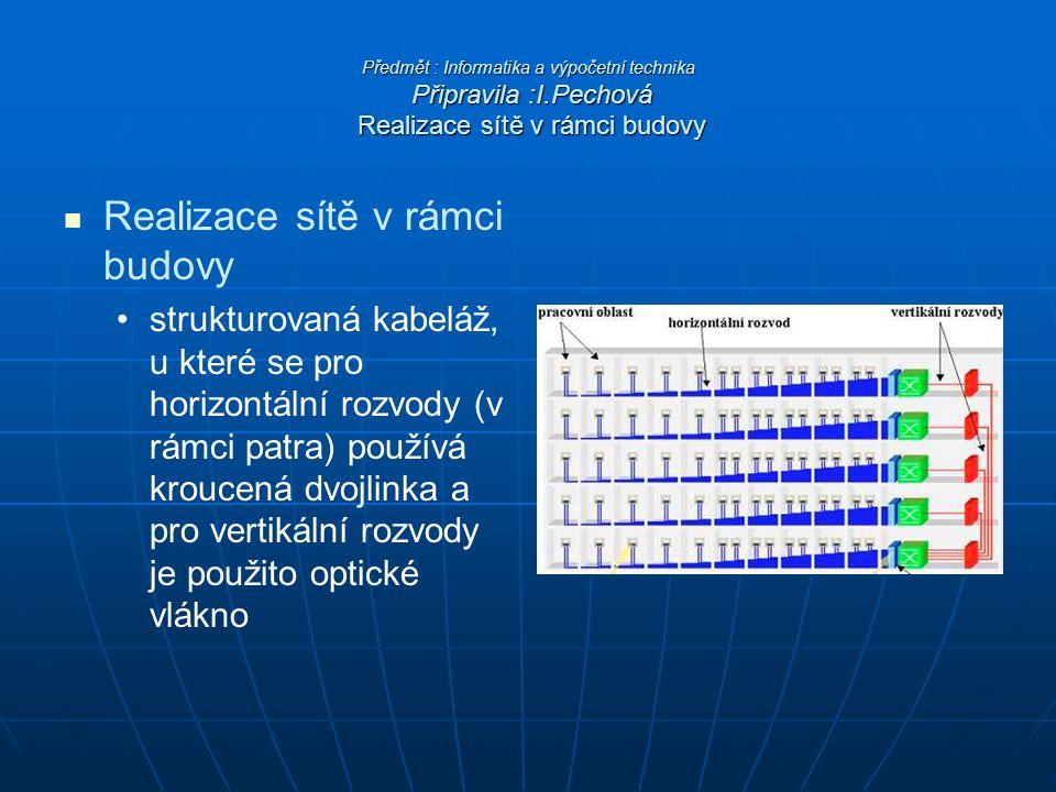 Předmět : Informatika a výpočetní technika Připravila :I.Pechová Realizace sítě v rámci budovy Realizace sítě v rámci budovy strukturovaná kabeláž, u