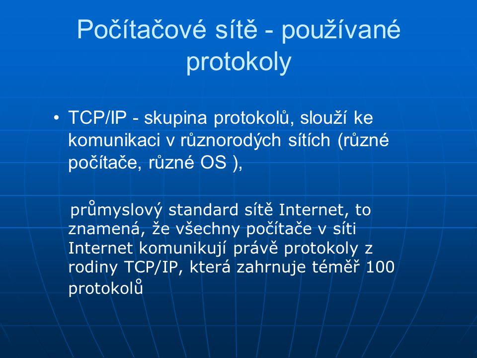 Počítačové sítě - používané protokoly TCP/IP - skupina protokolů, slouží ke komunikaci v různorodých sítích (různé počítače, různé OS ), průmyslový st