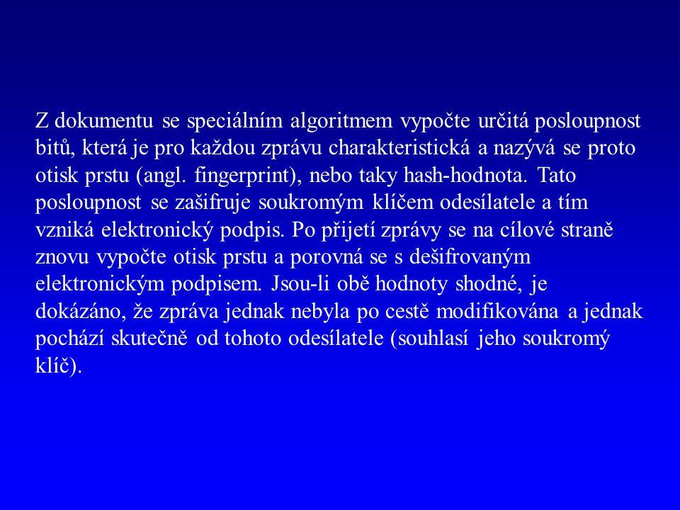 Z dokumentu se speciálním algoritmem vypočte určitá posloupnost bitů, která je pro každou zprávu charakteristická a nazývá se proto otisk prstu (angl.