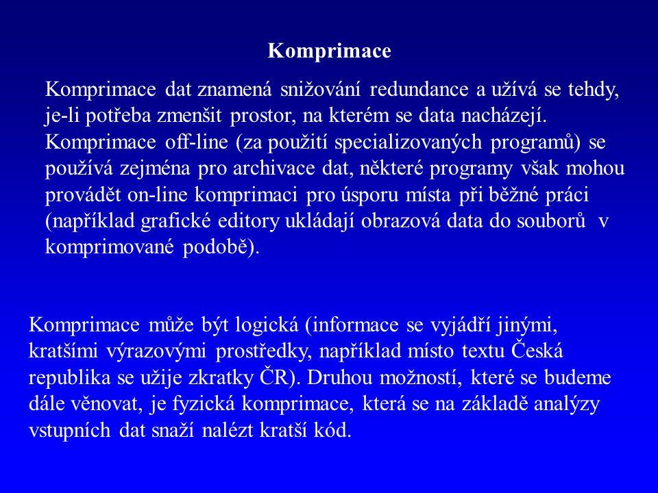 Komprimace Komprimace dat znamená snižování redundance a užívá se tehdy, je-li potřeba zmenšit prostor, na kterém se data nacházejí. Komprimace off-li