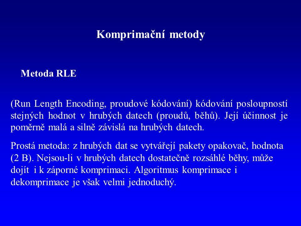 Komprimační metody Metoda RLE (Run Length Encoding, proudové kódování) kódování posloupností stejných hodnot v hrubých datech (proudů, běhů). Její úči