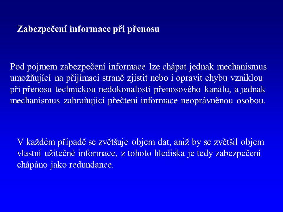 Detekce chyby Předpokládejme digitální přenos dat (posloupnost dvojkových číslic.