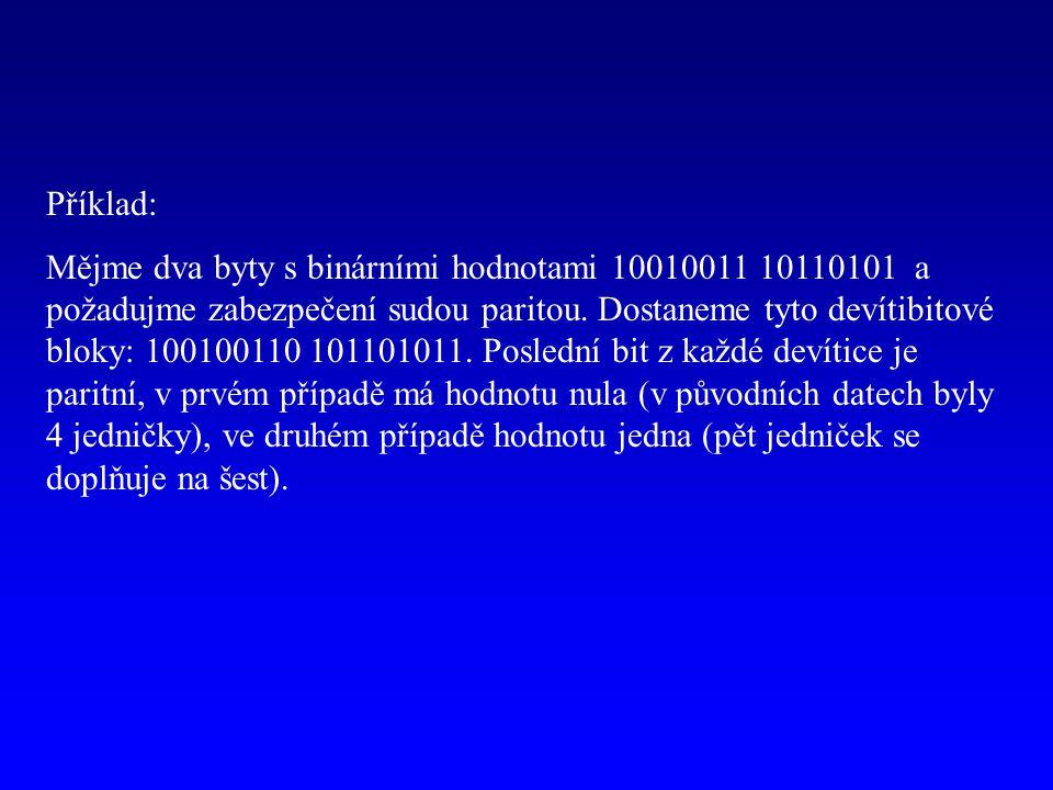 Příklad: Mějme dva byty s binárními hodnotami 10010011 10110101 a požadujme zabezpečení sudou paritou. Dostaneme tyto devítibitové bloky: 100100110 10