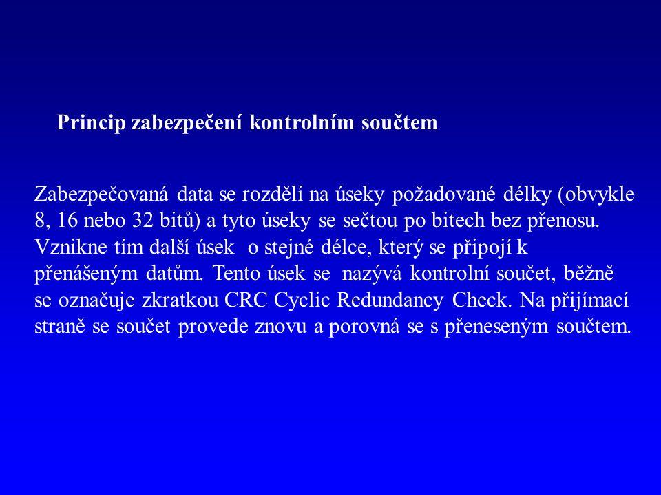 0110101010100010data 1000101111010111 1101000111010101 0111010101100110 0100010111000110CRC Oprava chyby Kód, kterým je možné nejen chybu detekovat, ale i lokalizovat, a tím i opravit, se nazývá samoopravný kód.