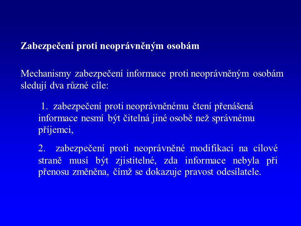 Zabezpečení proti neoprávněným osobám Mechanismy zabezpečení informace proti neoprávněným osobám sledují dva různé cíle: 1. zabezpečení proti neoprávn