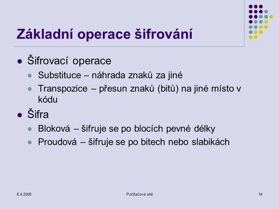 8.4.2008Počítačové sítě14 Základní operace šifrování Šifrovací operace Substituce – náhrada znaků za jiné Transpozice – přesun znaků (bitů) na jiné mí