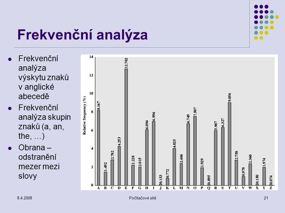 8.4.2008Počítačové sítě21 Frekvenční analýza Frekvenční analýza výskytu znaků v anglické abecedě Frekvenční analýza skupin znaků (a, an, the, …) Obran