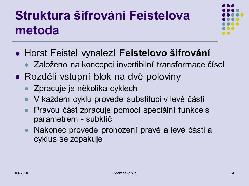 8.4.2008Počítačové sítě24 Struktura šifrování Feistelova metoda Horst Feistel vynalezl Feistelovo šifrování Založeno na koncepci invertibilní transfor