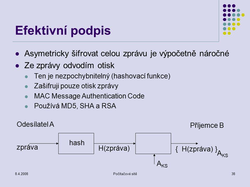 8.4.2008Počítačové sítě38 Efektivní podpis Asymetricky šifrovat celou zprávu je výpočetně náročné Ze zprávy odvodím otisk Ten je nezpochybnitelný (has