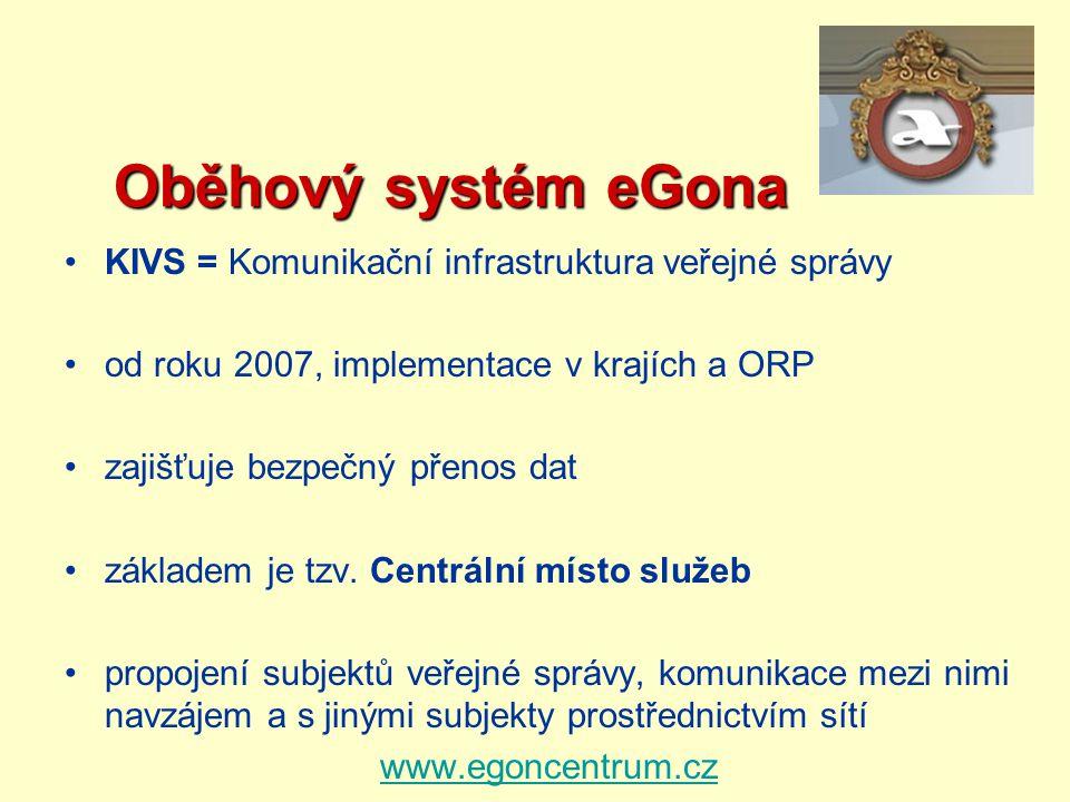 Oběhový systém eGona Oběhový systém eGona KIVS = Komunikační infrastruktura veřejné správy od roku 2007, implementace v krajích a ORP zajišťuje bezpeč
