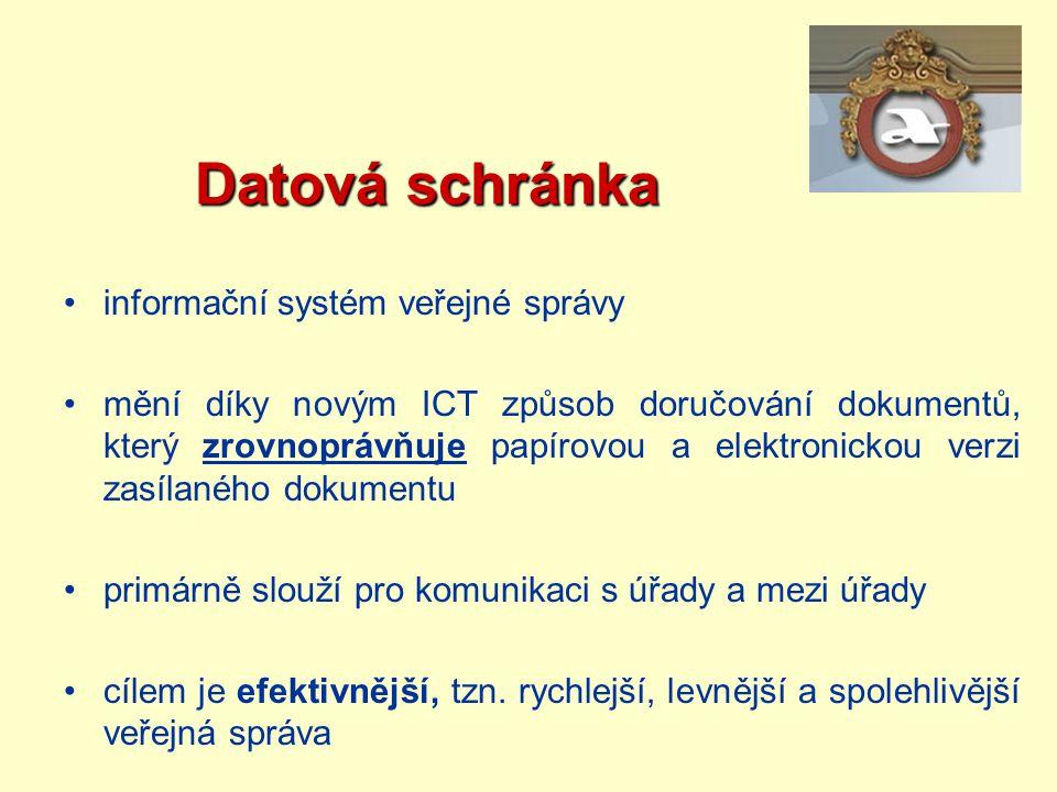 Datová schránka Datová schránka informační systém veřejné správy mění díky novým ICT způsob doručování dokumentů, který zrovnoprávňuje papírovou a ele