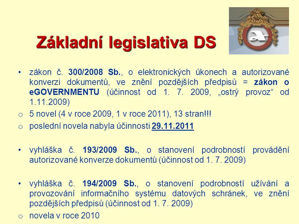 Základní legislativa DS Základní legislativa DS zákon č. 300/2008 Sb., o elektronických úkonech a autorizované konverzi dokumentů, ve znění pozdějších