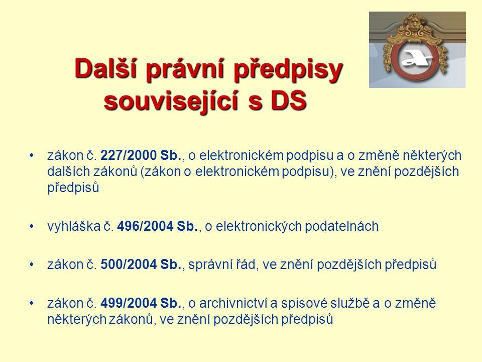 Další právní předpisy související s DS Další právní předpisy související s DS zákon č. 227/2000 Sb., o elektronickém podpisu a o změně některých další