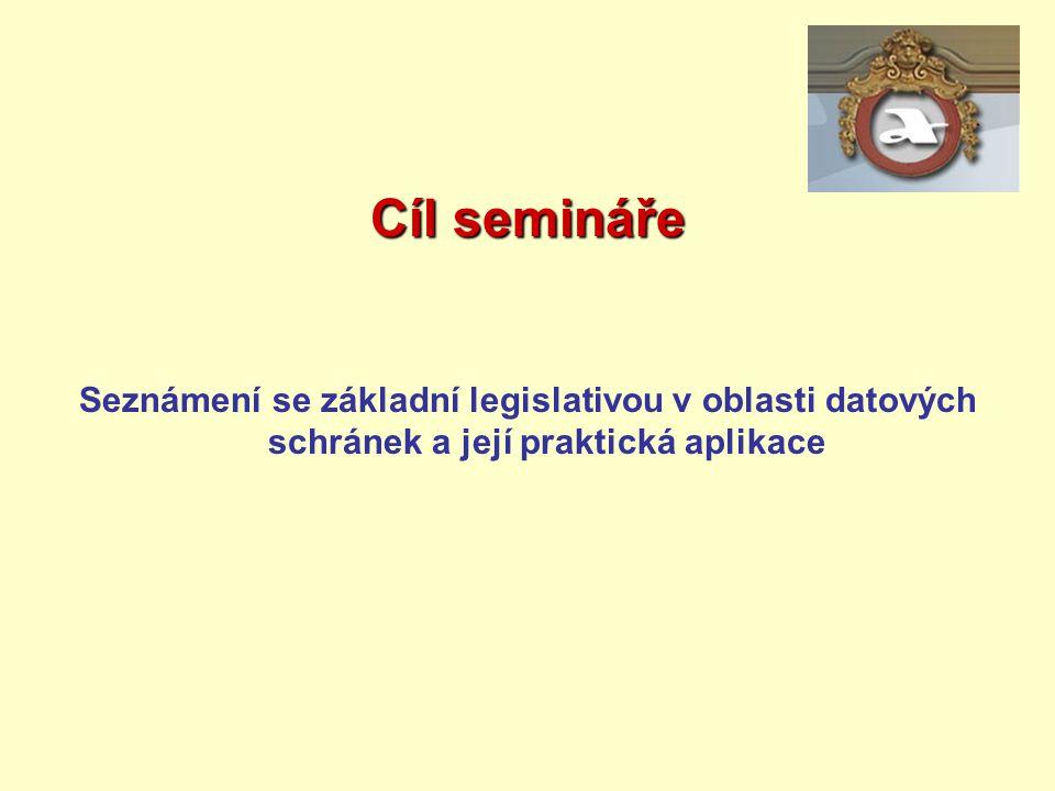 Cíl semináře Seznámení se základní legislativou v oblasti datových schránek a její praktická aplikace
