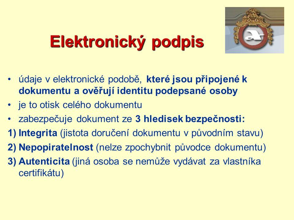Elektronický podpis Elektronický podpis údaje v elektronické podobě, které jsou připojené k dokumentu a ověřují identitu podepsané osoby je to otisk c