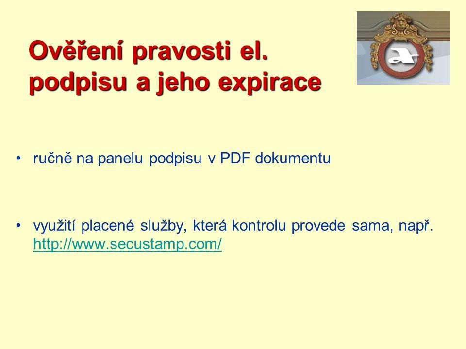 Ověření pravosti el. podpisu a jeho expirace ručně na panelu podpisu v PDF dokumentu využití placené služby, která kontrolu provede sama, např. http:/