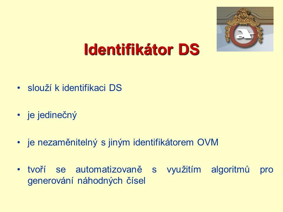 Identifikátor DS slouží k identifikaci DS je jedinečný je nezaměnitelný s jiným identifikátorem OVM tvoří se automatizovaně s využitím algoritmů pro g