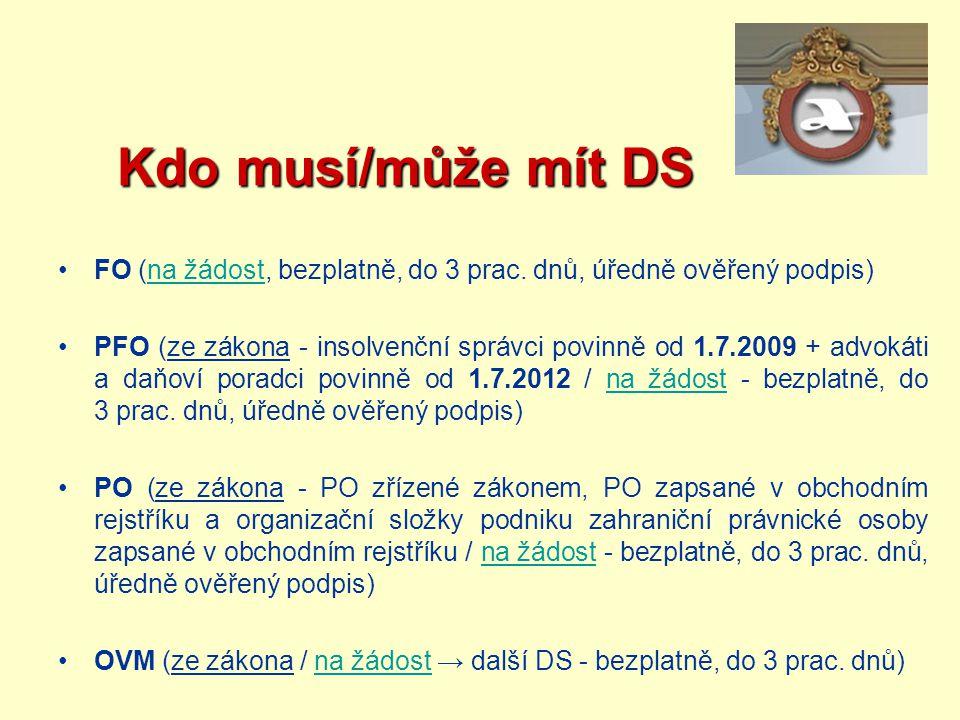 Kdo musí/může mít DS Kdo musí/může mít DS FO (na žádost, bezplatně, do 3 prac. dnů, úředně ověřený podpis)na žádost PFO (ze zákona - insolvenční správ