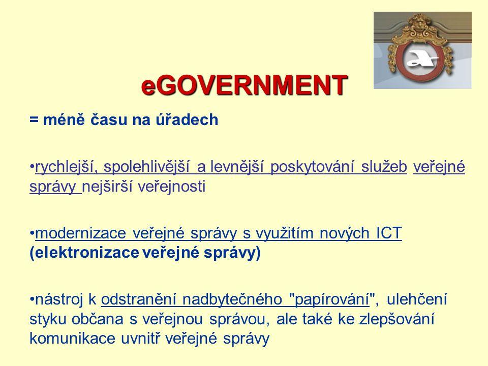eGOVERNMENT = méně času na úřadech rychlejší, spolehlivější a levnější poskytování služeb veřejné správy nejširší veřejnosti modernizace veřejné správ