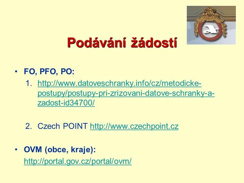 Podávání žádostí FO, PFO, PO: 1.http://www.datoveschranky.info/cz/metodicke- postupy/postupy-pri-zrizovani-datove-schranky-a- zadost-id34700/http://ww