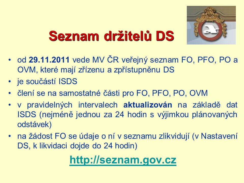 Seznam držitelů DS Seznam držitelů DS od 29.11.2011 vede MV ČR veřejný seznam FO, PFO, PO a OVM, které mají zřízenu a zpřístupněnu DS je součástí ISDS