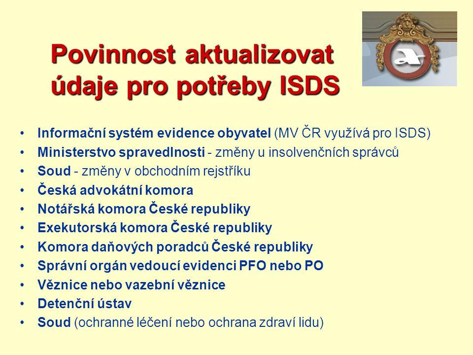 Povinnost aktualizovat údaje pro potřeby ISDS Povinnost aktualizovat údaje pro potřeby ISDS Informační systém evidence obyvatel (MV ČR využívá pro ISD