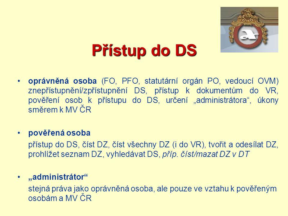 Přístup do DS oprávněná osoba (FO, PFO, statutární orgán PO, vedoucí OVM) znepřístupnění/zpřístupnění DS, přístup k dokumentům do VR, pověření osob k