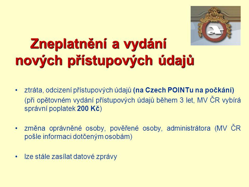 Zneplatnění a vydání nových přístupových údajů Zneplatnění a vydání nových přístupových údajů ztráta, odcizení přístupových údajů (na Czech POINTu na