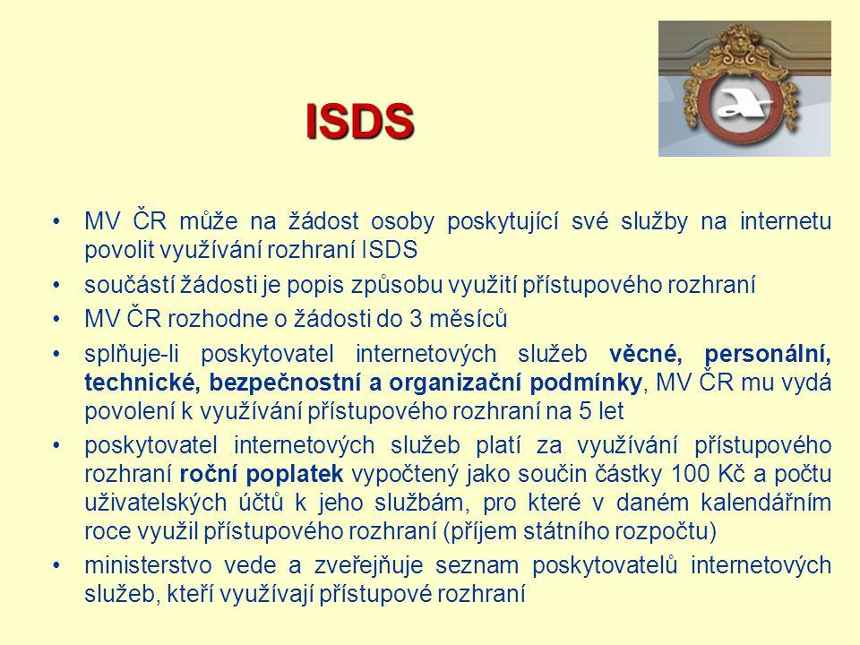ISDS ISDS MV ČR může na žádost osoby poskytující své služby na internetu povolit využívání rozhraní ISDS součástí žádosti je popis způsobu využití pří