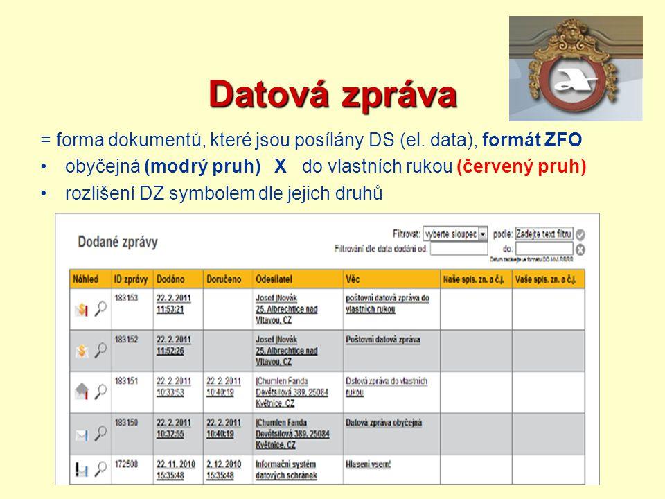 Datová zpráva = forma dokumentů, které jsou posílány DS (el. data), formát ZFO obyčejná (modrý pruh) X do vlastních rukou (červený pruh) rozlišení DZ