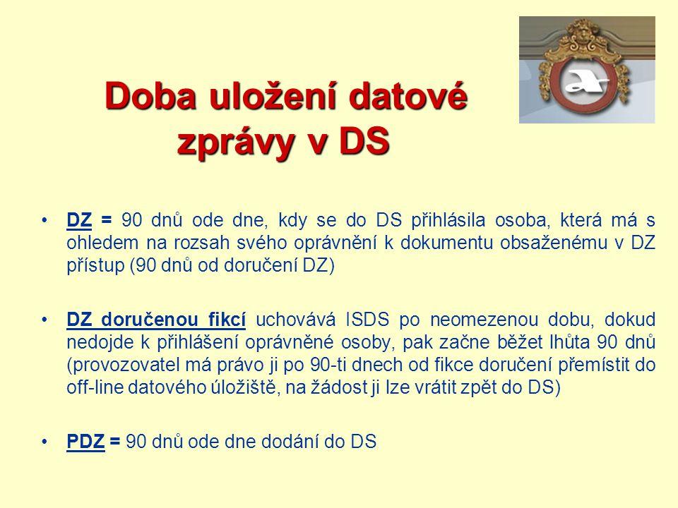 Doba uložení datové zprávy v DS Doba uložení datové zprávy v DS DZ = 90 dnů ode dne, kdy se do DS přihlásila osoba, která má s ohledem na rozsah svého