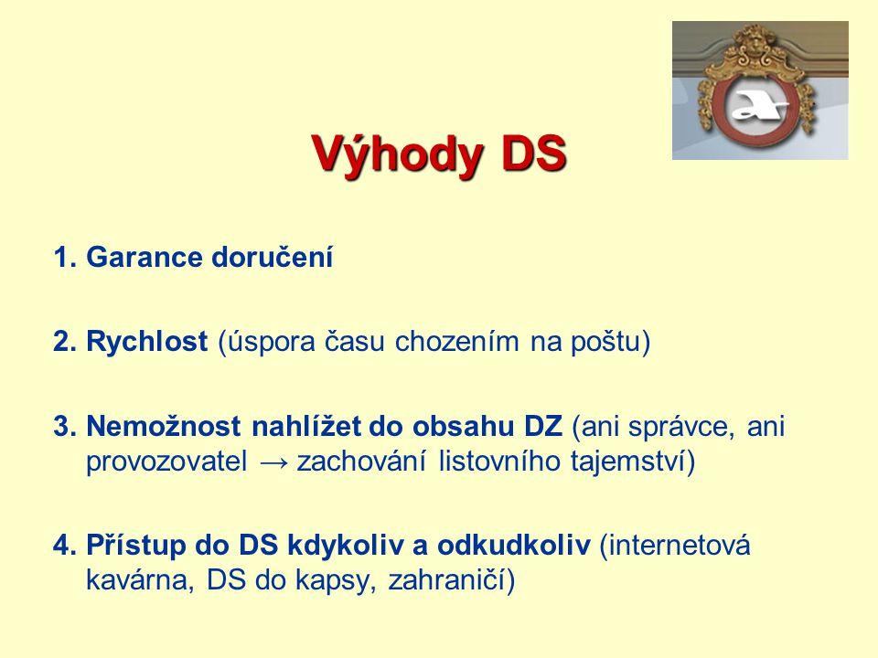 Výhody DS 1.Garance doručení 2.Rychlost (úspora času chozením na poštu) 3.Nemožnost nahlížet do obsahu DZ (ani správce, ani provozovatel → zachování l