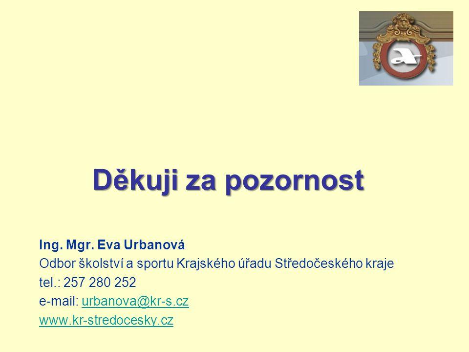 Děkuji za pozornost Ing. Mgr. Eva Urbanová Odbor školství a sportu Krajského úřadu Středočeského kraje tel.: 257 280 252 e-mail: urbanova@kr-s.czurban