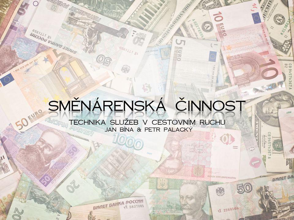 Podmínky provozování směnárny Koncesovaná živnost (licence od ČNB), ŽL vydává příslušný živnostenský úřad, ale je vázán na rozhodnutí ČNB Směnárna musí být vybavena: – kartotékou platidel, která musí obsahovat vyobrazení a popis platných bankovek a mincí české i cizí měny, kurzovní lístek na viditelném místě a cíl Banky mají směnárenskou činnost upravenou bankovní licencí a nemusí o znovu žádat