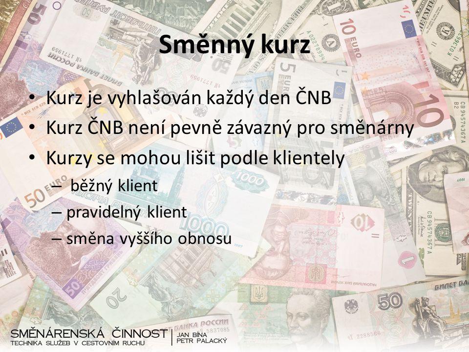Směnný kurz Kurz je vyhlašován každý den ČNB Kurz ČNB není pevně závazný pro směnárny Kurzy se mohou lišit podle klientely – běžný klient – pravidelný