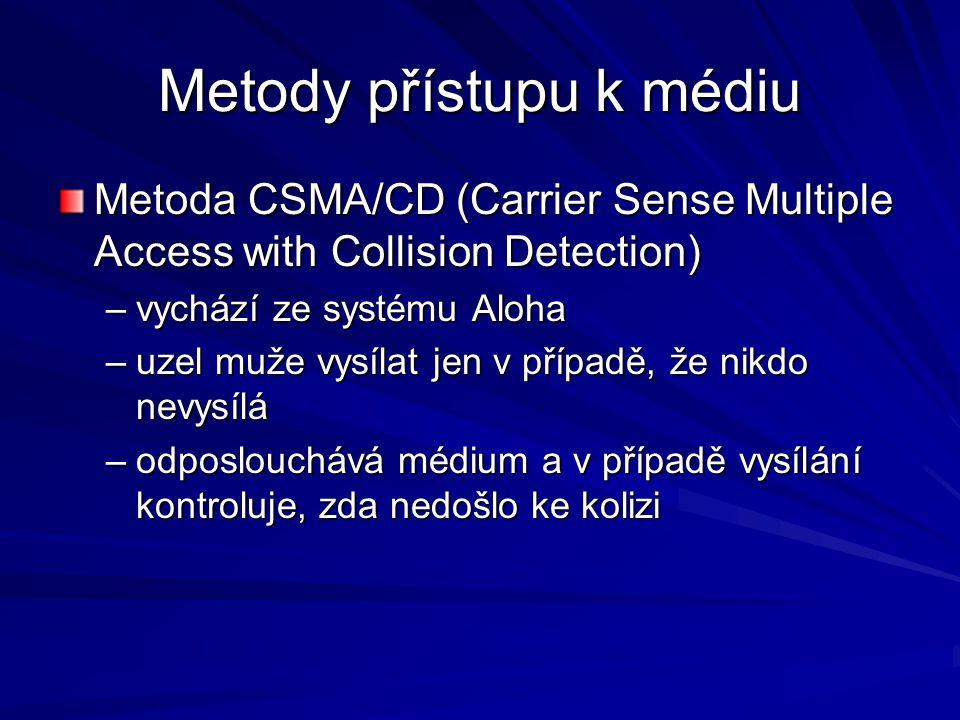 Metody přístupu k médiu Metoda CSMA/CD (Carrier Sense Multiple Access with Collision Detection) –vychází ze systému Aloha –uzel muže vysílat jen v případě, že nikdo nevysílá –odposlouchává médium a v případě vysílání kontroluje, zda nedošlo ke kolizi