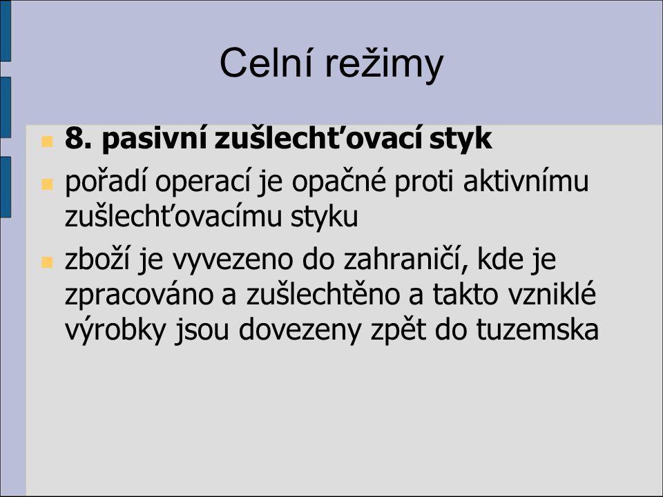 Celní režimy 8. pasivní zušlechťovací styk pořadí operací je opačné proti aktivnímu zušlechťovacímu styku zboží je vyvezeno do zahraničí, kde je zprac