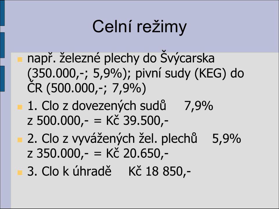 Celní režimy např. železné plechy do Švýcarska (350.000,-; 5,9%); pivní sudy (KEG) do ČR (500.000,-; 7,9%) 1. Clo z dovezených sudů7,9% z 500.000,- =
