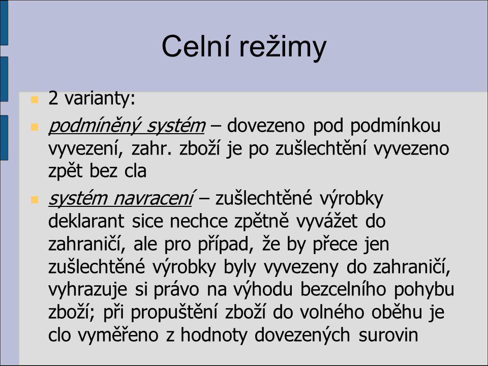 Celní režimy 2 varianty: podmíněný systém – dovezeno pod podmínkou vyvezení, zahr. zboží je po zušlechtění vyvezeno zpět bez cla systém navracení – zu