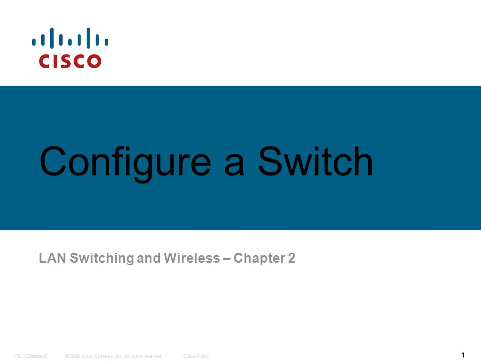 © 2006 Cisco Systems, Inc. All rights reserved.Cisco PublicITE 1 Chapter 6 1 © 2006 Cisco Systems, Inc. All rights reserved.Cisco PublicITE I Chapter