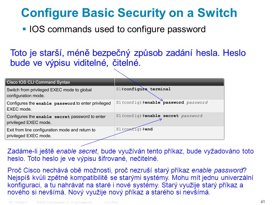 © 2006 Cisco Systems, Inc. All rights reserved.Cisco PublicITE 1 Chapter 6 41 Configure Basic Security on a Switch  IOS commands used to configure pa